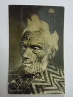 New Zealand Maori Chief Tattoo Photo Card Tanner Bros Used 1936 - New Zealand