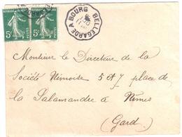 BELLEGARDE à BOURG Lettre Convoyeur Type 2 Ob 11/10/ 1908 5 C Semeuse Camée Vert Yv 137 - Railway Post