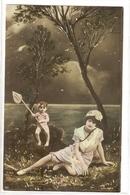 FAN 021  OLD POSTCARD , FEMALE FANTASY , ANGELS , ELFQUEST ,GNOMES - Femmes