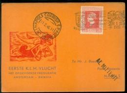 Nederland 1946 Speciale Kaart 1e Vlucht Amsterdam-Batavia Met Opgevoerde Frequentie - Periode 1891-1948 (Wilhelmina)