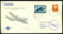 Nederland 1957 Eerste Vlucht KLM Van Amsterdam-Belgrado Met Datum 14 April VH 491a I - 1949-1980 (Juliana)