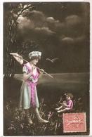FAN 023  OLD POSTCARD , FEMALE FANTASY , ANGELS , ELFQUEST ,GNOMES - Femmes
