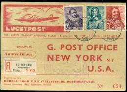 Nederland 1946 Registered Card First Official KLM Flight Amsterdam-New York Violet BS Zonder Onderlijn VH A 239a - Lettres & Documents