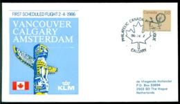 Canada 1986 1e KLM Lijnvlucht Calgary Amsterdam VH A 1067b - Luftpost