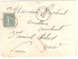 ARLES à LUNEL Lettre Convoyeur Type 1 Ob 9/9/ 1905 15 C Semeuse Lignée Vert Yv 130 - Railway Post