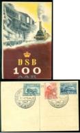 Denemarken 1947 Postkaart 100 Jaar Deense Spoorwegen Met Mi 298-300 - Dinamarca