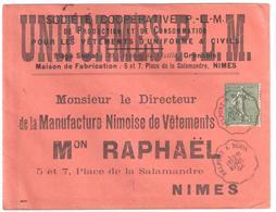 BELFORT à DIJON Lettre Entête Uniformes PLM Convoyeur Type 1 Ob 28/4/ 1904 15 C Semeuse Lignée Vert Yv 130 - Railway Post