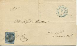 NORWEGEN NORWAY Nr.1 Auf  Brief. StrichStp, Blazuer NebenStp TRONDHJEM  24.7.1855 - Norwegen