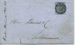 NORWEGEN NORWAY Nr.1 Auf  Brief , ESPEDALS VERK 26.05.1855 Nach Lillehammer - Norwegen