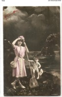 FAN 041  OLD POSTCARD , FEMALE FANTASY , ANGELS , ELFQUEST ,GNOMES - Mujeres