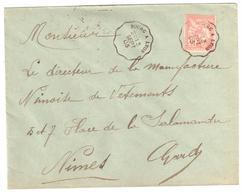 BOURG à LYON  Lettre Convoyeur Type 1 Ob 7/3/ 1902 15 C Mouchon Yv 117 - Railway Post