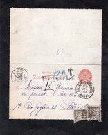 Entier Postal Sur Carte Lettre - Cachet BUDAPEST & Cachet PARIS ETRANGER - TAXE 10 C ET 15 C (dédoupes A L'ouverture) - Entiers Postaux