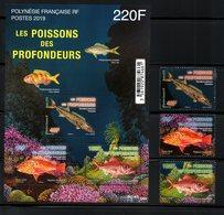 POLYNESIA FR., 2019,  FISHES, 3v.+S/S, MNH**NEW!! - Pesci