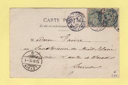 Type Blanc - Destination Suisse - Daguin Nancy Gare - 18-9-1905 - Marcophilie (Lettres)