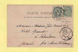 Type Blanc (deux Nuances) - Destination Hollande - 26-9-1903 - Paris - Marcophilie (Lettres)