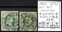 [843974]TB//O/Used-Belgique 1869 - N° 30, Relais (étoiles) *GRUNE*, 10c Vert, Nuances, COBA + 40 ?, Familles Royales, Ro - Poststempel