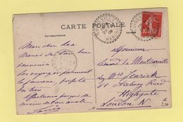 Type Semeuse - Destination Angleterre - Quineville - Manche - 24-8-1909 - Marcophilie (Lettres)