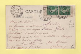 Type Semeuse - Paire De Carnet - Bordeaux Gare St Jean - 5-11-1913 - Marcophilie (Lettres)