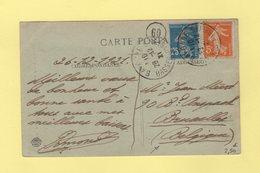 Type Semeuse - Destination Belgique - 28-12-1921 - Bayonne - Basses Pyrenees - Marcophilie (Lettres)