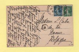 Type Semeuse - Destination Belgique - 25-7-1921 - Evians Les Bains - Haute Savoie - Marcophilie (Lettres)