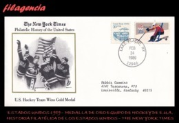 AMERICA. ESTADOS UNIDOS. ENTEROS POSTALES. MATASELLO ESPECIAL 1989. NEW YORK TIMES. MEDALLA DE ORO EQUIPO DE HOCKEY EUA - Estados Unidos
