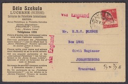 DESTINATION  TRASNSVAAL / SÜDAFRIKA VIA ENGLAND - Briefe U. Dokumente