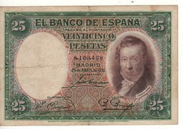 SPAIN 25 Pesetas. 25.4.1931. P81 - [ 1] …-1931 : Prime Banconote (Banco De España)