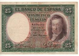 SPAIN 25 Pesetas. 25.4.1931. P81 - [ 1] …-1931 : Eerste Biljeten (Banco De España)