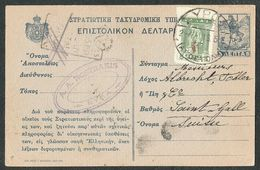 Greece 1918 Uprated Postal Card Syros To Saint Gall Suisse PASSED AEGEAN CENSOR - Grecia