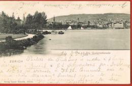 ZURICH  -Die Quaipromenade- - Voyagée 1900 - ZH Zürich