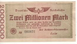 GERMANY  2 Millionen Mark   Deutche Reichbahn  Dated  20.8.1923 - [ 3] 1918-1933: Weimarrepubliek