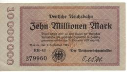 GERMANY  10 Millionen Mark   Deutche Reichbahn    Dated  2.9.1923 - [ 3] 1918-1933 : Repubblica  Di Weimar