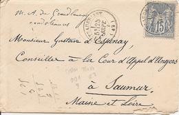 LOIRE-INFERIEURE  SAGE  Sur  LAC (écrite à STE CLAIRE Cne De SOUDAN) OBLI CHATEAUBRIANT - Marcophilie (Lettres)