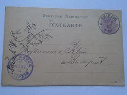 ZA251.1 Deutsche Reichspost - Postkarte LEIPZIG   1885 Ganzsache  5 Pf.  Nach Budapest Ungarn - NAUCK W.F. - Covers & Documents