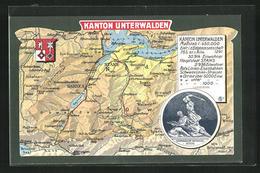 AK Stans, Landkarte Vom Kanton Unterwalden - NW Nidwald