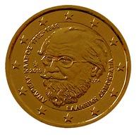 GRECE - 2019 - ANDREAS KALVOS  -  2 EUROS COMMEMORATIVE PLAQUE OR - Grèce