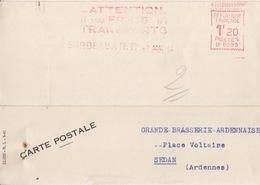 Carte-lettre Pré-imprimée (A. Pouey...), EMA 1f20 (B0285, Attention à Vos Frais De Transport...) Bordeaux RP Le 7 MAI 42 - Vrachtwagens