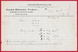 68 THANN Haut-Rhin - Memorandum JULES BRAUER Entrepositaire De La Brasserie De LUTTERBACH ** Bière Beer Eau Minérale - Alimentare