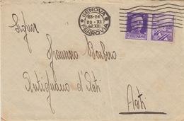 A/6 - BUSTA - 1 VALORE Cent.50 - (La Disciplina è Arma Di Vittoria)  DA GENOVA  AD ANTIGNANO D'ASTI - 1900-44 Vittorio Emanuele III