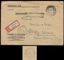 P0806 - DR R - Briefumschlag Mit PLZ 24 R - Zettel Und Stempel: Gebraucht 24 Ahrensburg - 24 Altona 30.1.1945 , Bedarf - Deutschland