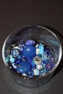 Beau Lot De 90gr Perles à Diminante Coloris Bleu (verre, Céramique, Synthétique) - Perles