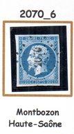 France : Petit Chiffre N° 2070 : Montbozon (  Haute-Saône ) Indice 6 - 1849-1876: Classic Period