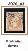France : Petit Chiffre N° 2076 : Montdidier (  Somme ) Indice 3 - Marcophilie (Timbres Détachés)