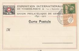 CARTE SUISSE. 1922. EXPOSITION INTERNATIONALE DE TIMBRES POSTE DE GENEVE - Schweiz