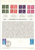 1978 DOCUMENT FDC CINQUANTENAIRE ACADEMIE DE PHILATELIE - Documenti Della Posta