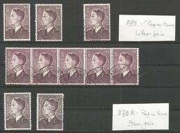 1952 - BELLE ETUDE SUR COB N° 879 ** (MNH) Et Obl. (o)- Nuances - Papiers ... - Unclassified