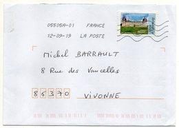 """2019-- Tp  Adhésif  """" Architecture Renaissance  """" --chateau De Valençay   Seul Sur Lettre- - Marcophilie (Lettres)"""