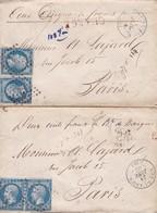 Deux Lettres Chargée Au Départ D'Aire Sur Adour (Landes) Pour Paris 1862 Yvert 14A - 1849-1876: Période Classique