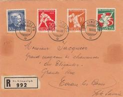 LETTRE DEVANT.  SUISSE. RECOMMANDÉ ST GINGOLPH POUR EVIAN. PROJUVENTUTE 1932 - Zwitserland