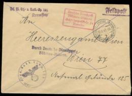 P0358 - DR Böhmen Und Mähren Propaganda Feldpost Briefumschlag Aus Kremster: Gebraucht Prerau - Wien 1943 ,Bedarfserha - Germany
